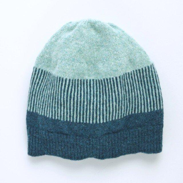 ボーダーニット帽 ブルーの画像1枚目