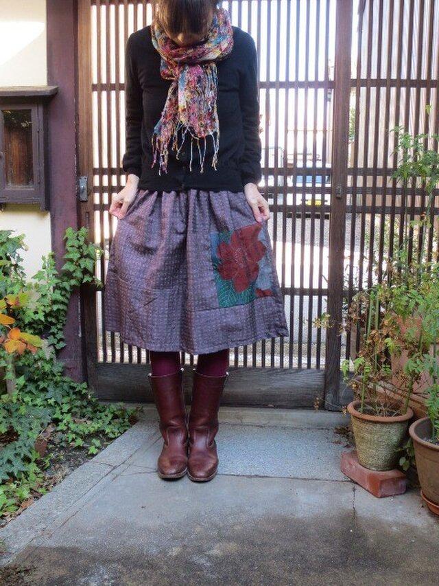 ローズピンクの紬deリメイク☆椿のパッチでブーツに合う64㎝の画像1枚目