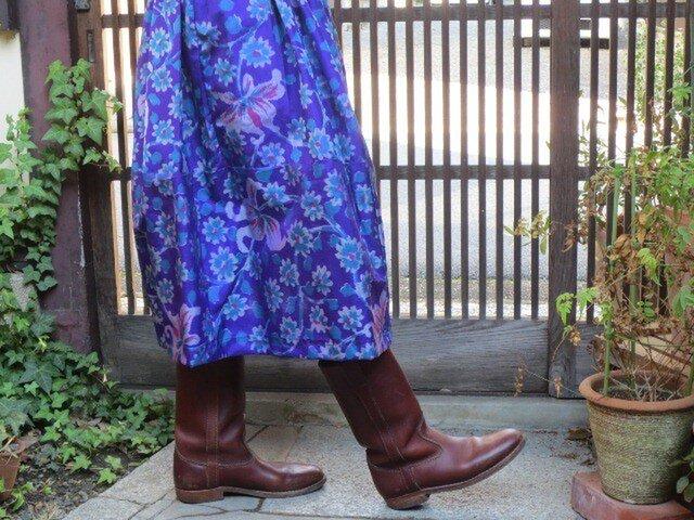 青紫の銘仙でリメイク☆小花や百合が可愛いふんわりスカート♪の画像1枚目