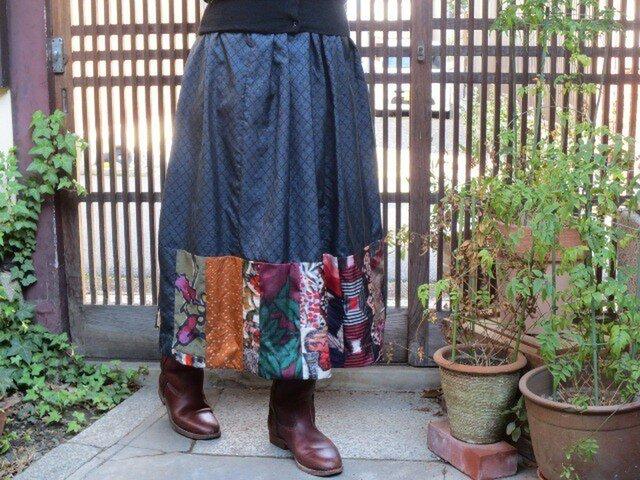 藍大島と銘仙deリメイク☆可愛くて大人なロングスカート♪の画像1枚目
