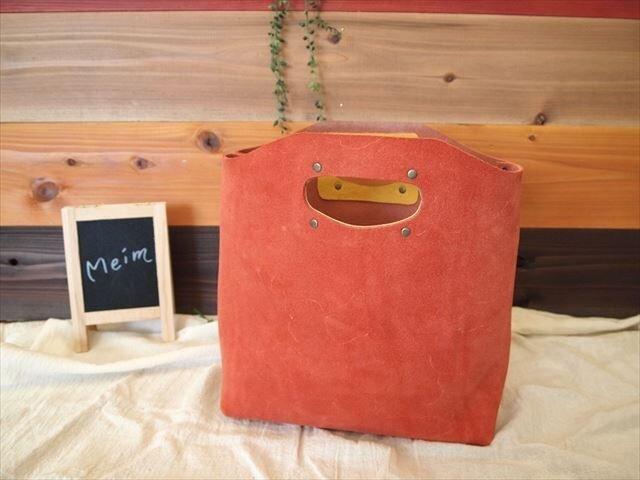 【受注生産】床革 B5【赤】ハンディバッグ 1520003【M】の画像1枚目