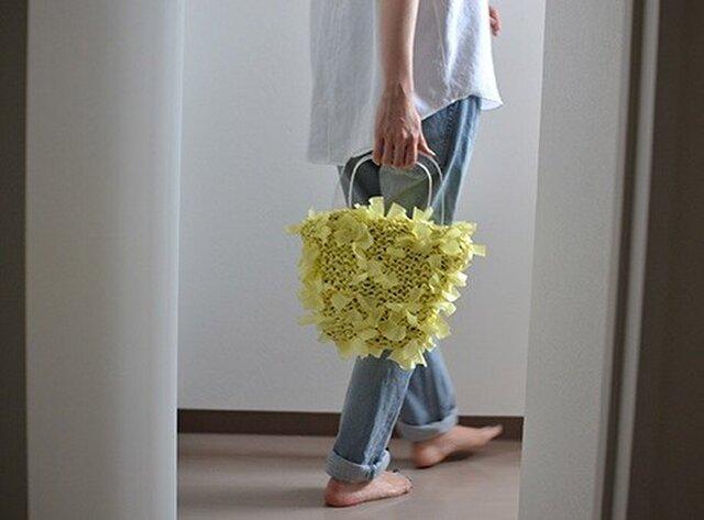 [cyane]basket bag / yellow ×handle:clearの画像1枚目