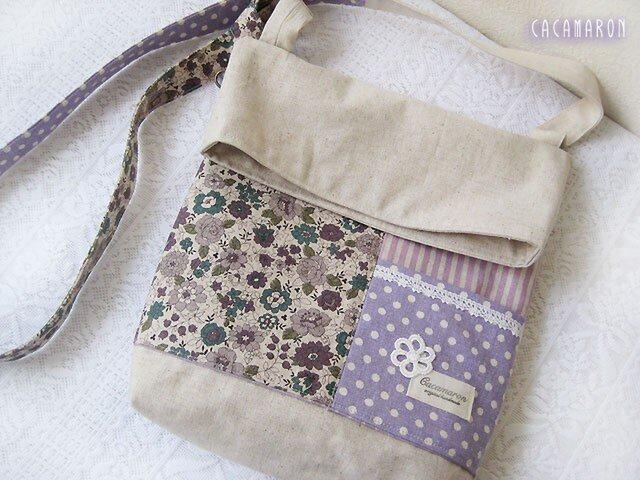 4ポケットショルダーバッグ YUWA花柄 紫緑の画像1枚目