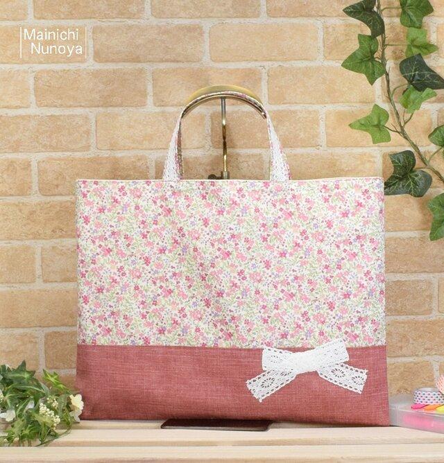 花柄&リボンのレッスンバッグ(通園袋):ピンクの画像1枚目