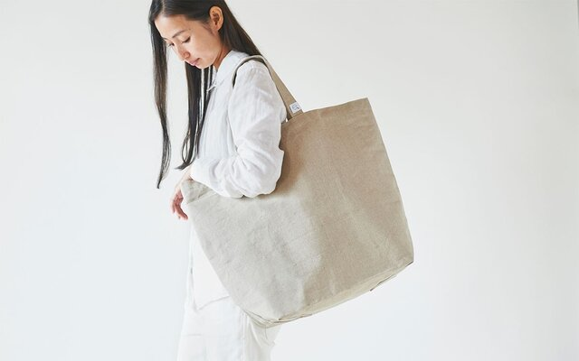 【再入荷】リネン帆布のトートバッグ(L)の画像1枚目