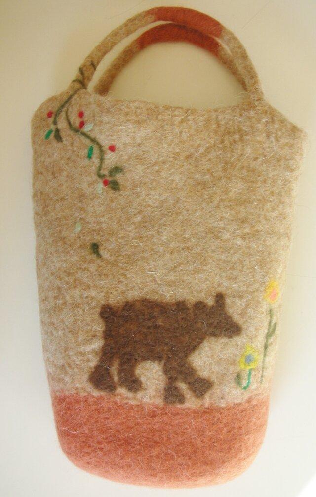 手さげバッグ クマの親子の散歩道の画像1枚目