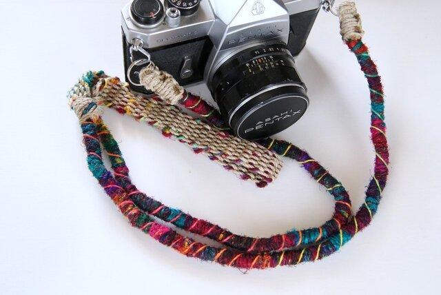 Crazy-color麻紐ヘンプカメラストラップ(2重リング)の画像1枚目