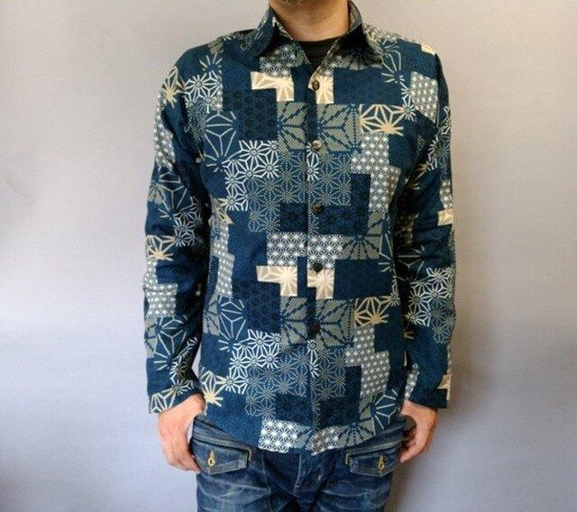 長袖和柄シャツ(パッチワーク調麻の葉紋様)青 (難有)の画像1枚目