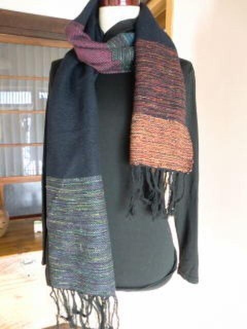 《手織り》シルクとウールのマフラーの画像1枚目