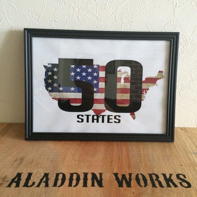 アメリカ50州ポスターA4の画像1枚目