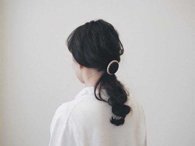 【S size】 matte black × gold beads ~CIRCLE HAIR ELASTIC【 受注生産 】の画像1枚目