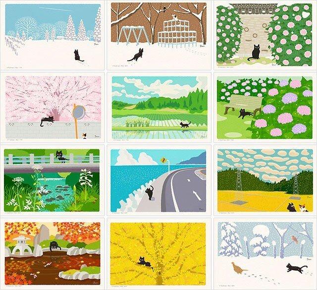 たびねこポストカード  Aセット(作家手作りーお得な12枚入)の画像1枚目