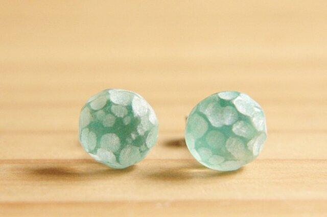 凸凹 : ピアス ( Emerald green 丸 )の画像1枚目