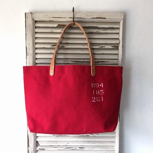 パラフィン帆布シンプルトートバッグ赤 M IND_BNP_0261の画像1枚目