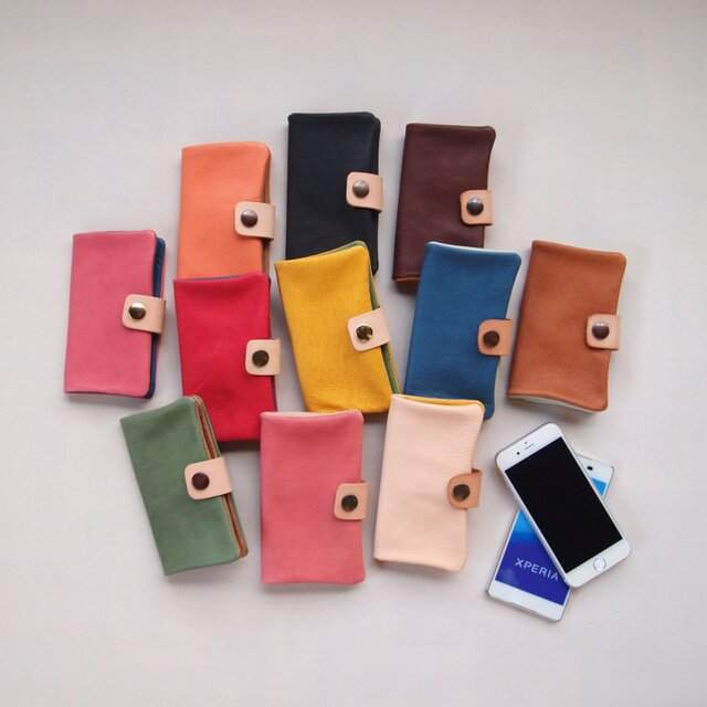 【選べるカラー】ぶた革*スマホケース【1024パターン】多機種対応*自分で作る 個性的やわらかなスマホカバー手帳型の画像1枚目