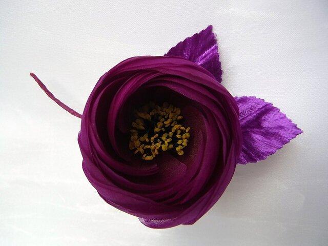 丸バラコサージュ(赤紫)の画像1枚目