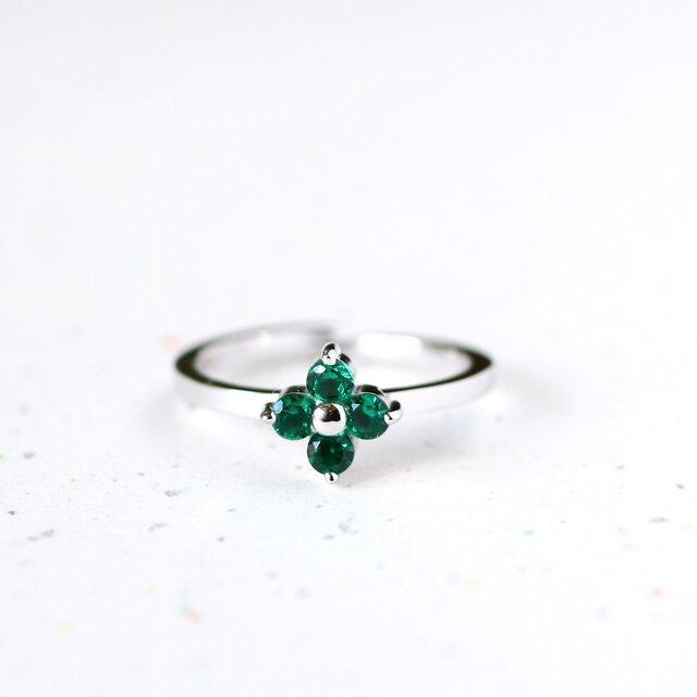 フルールフラワー エメラルド 花 リング 指輪 シルバー925の画像1枚目