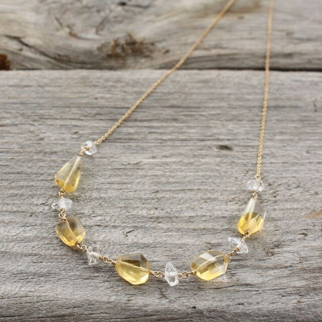 Citrine & Herkimer Diamond Necklaceの画像1枚目