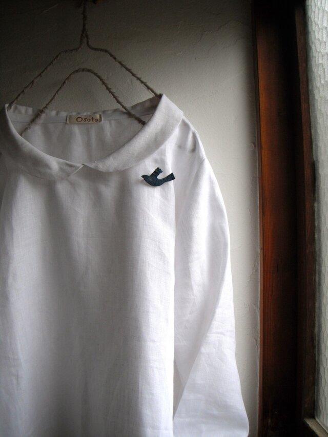 リネン100 丸襟プルオーバートップス ピュアホワイト の画像1枚目