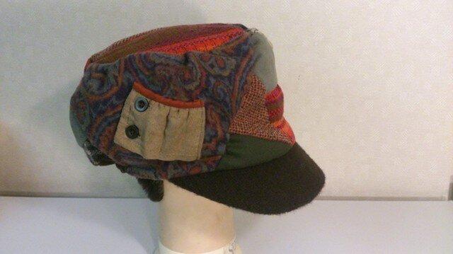 魅せる帽子☆SALE!布遊びのあったかフリーキャスケット(赤茶系)の画像1枚目