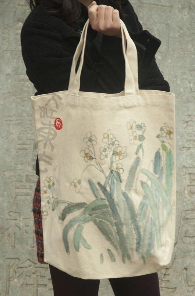 現代水墨画水仙のエコバッグの画像1枚目