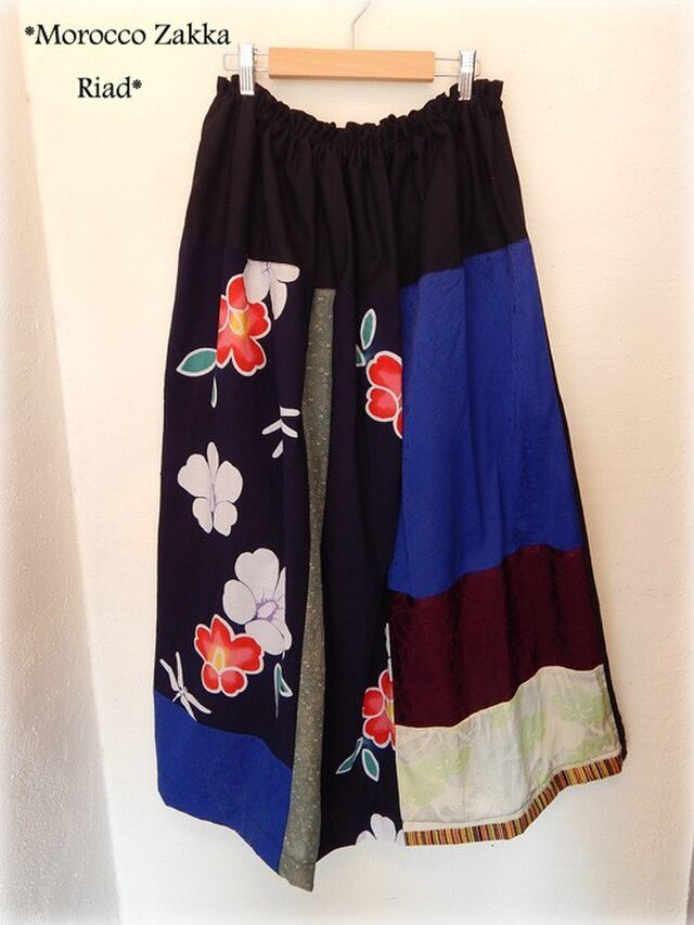 KIMONOギャザースカート ボタンの画像1枚目