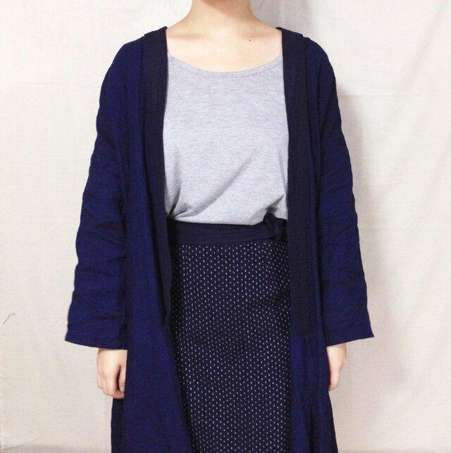 藍染めリネンの羽織りコート 刺し子の画像1枚目