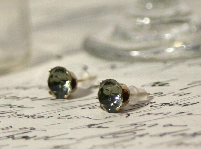 【再販】14kgfヴィンテージスワロフスキーピアス ブラックダイヤモンドの画像1枚目
