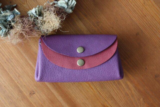 受注製作 ピッグスキンの小さなお財布 バイオレット×ワインの画像1枚目