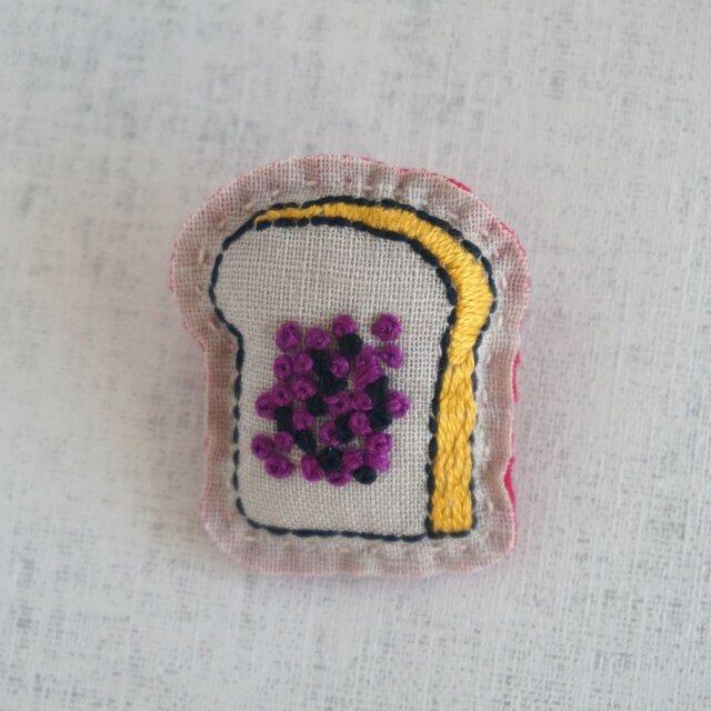 手刺繍ブローチ「小倉トースト1」の画像1枚目