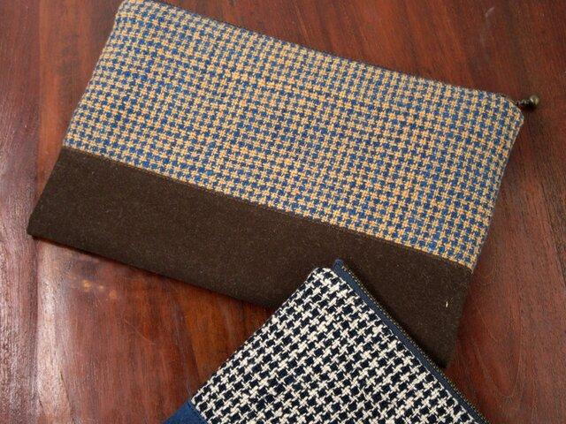 藍と茶綿の手織り大きめポーチ(よこ切替)の画像1枚目