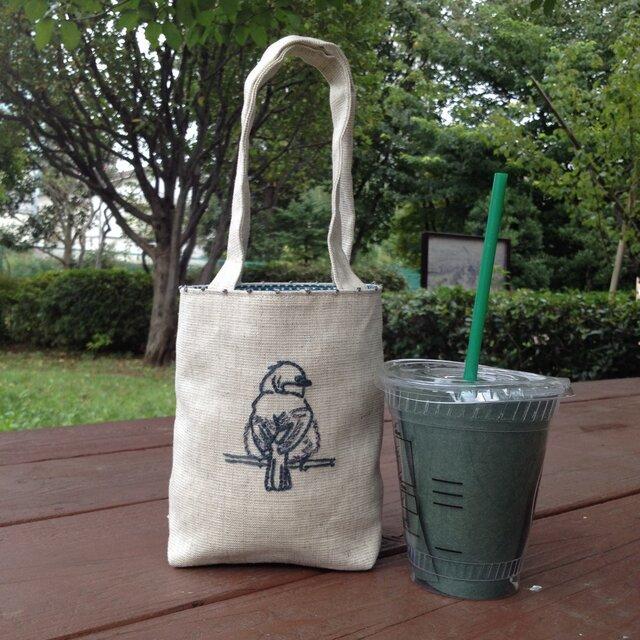 刺繍 カフェ バッグ  シジュウカラの画像1枚目