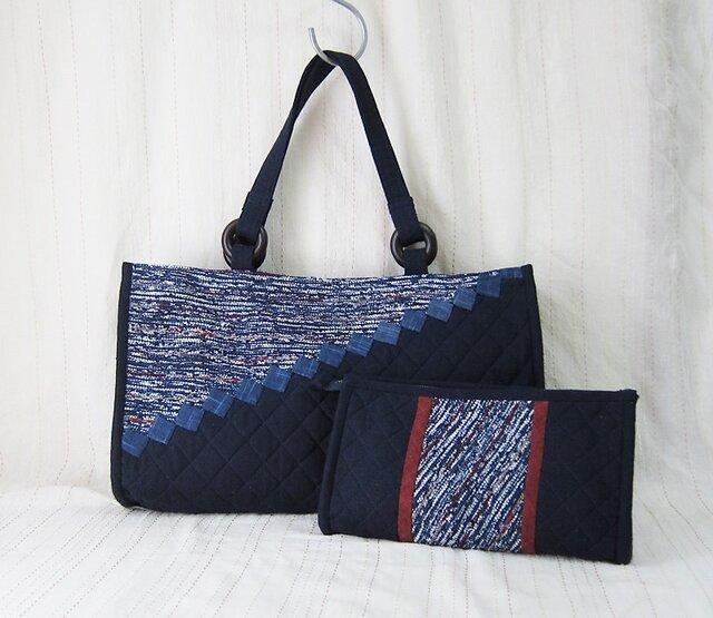 裂き織り&安曇野木綿 バッグとポーチのセット(紺)の画像1枚目
