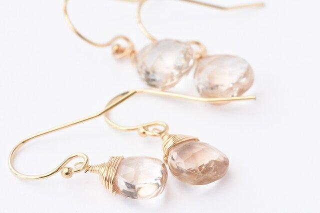 [PE] Brown topaz (Brown color) Pierced Earringの画像1枚目