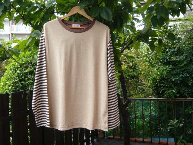 UV加工綿モダール メンズカット&ソー Tシャツ ベージュ×ブラウン×ボーダー   の画像1枚目