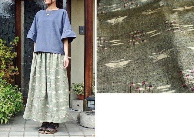 紬のロング丈スカート(蝶・M~L)の画像1枚目