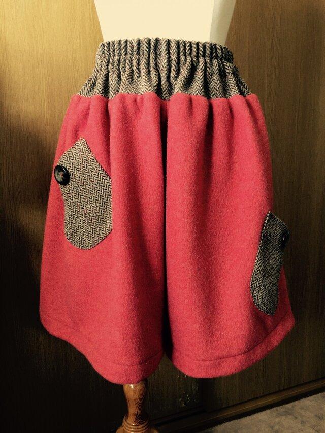 別注:暖か柿色キュロットスカートの画像1枚目
