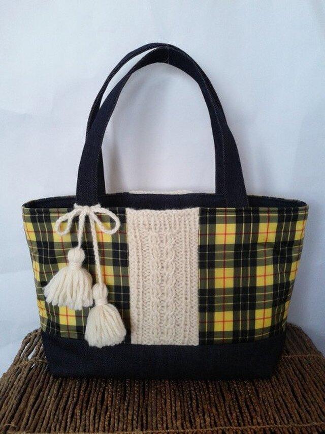 タータンチェック&手編み毛糸 トートバックの画像1枚目