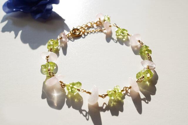 ローズクォーツ&ペリドット ブレスレット peridot&rose quartz bracelet B0025の画像1枚目