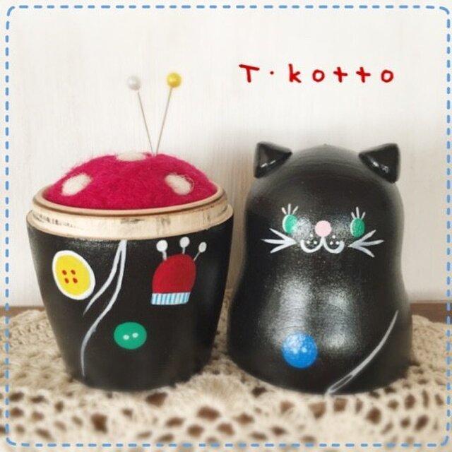 マトリョーシカ針山*黒猫とお裁縫道具の画像1枚目