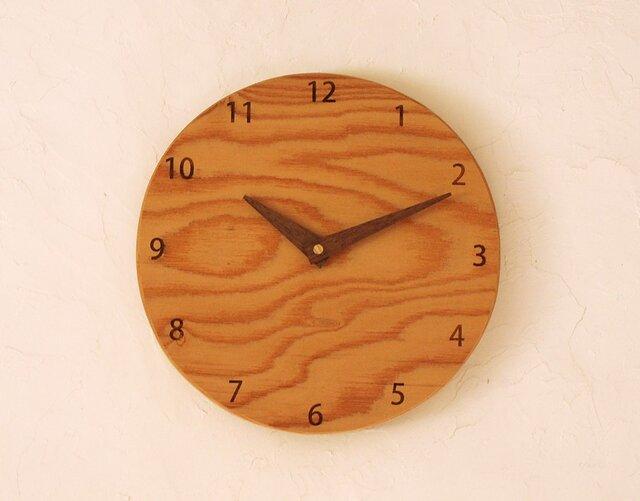 掛け時計 丸 けやき材⑫の画像1枚目