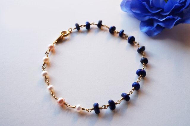 ラピス&淡水パールブレス Le ciel de la nuit Lapis&Pearl bracelet B0024の画像1枚目