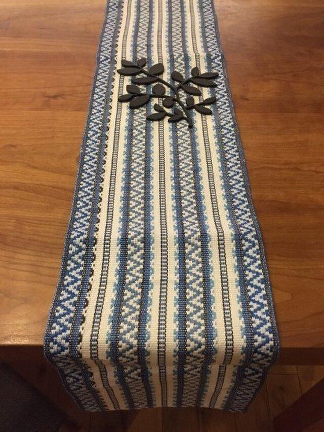 麻の手織りランナー 北欧柄 ブルーの画像1枚目