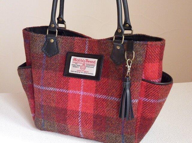 ほ様ご依頼品サイドポケットバッグS(ハリスツイード:赤系タータンチェック)の画像1枚目