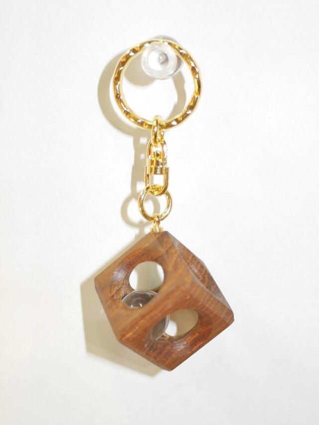 12mm水晶の木包みキーホルダー チーク Dの画像1枚目