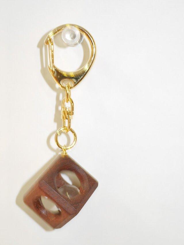 12mm水晶の木包みキーホルダー 花梨 Bの画像1枚目