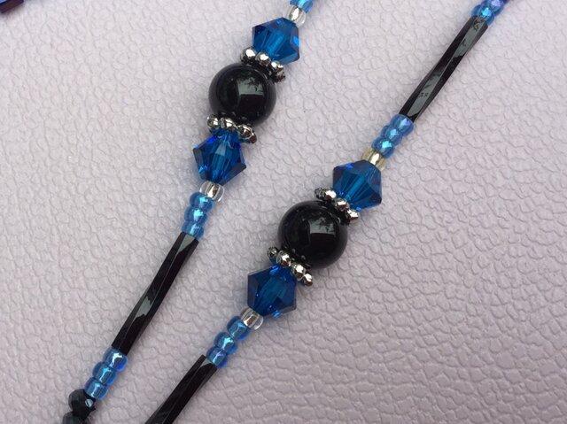 ☆ブルーと黒のコントラスト、 ユニセックスの画像1枚目