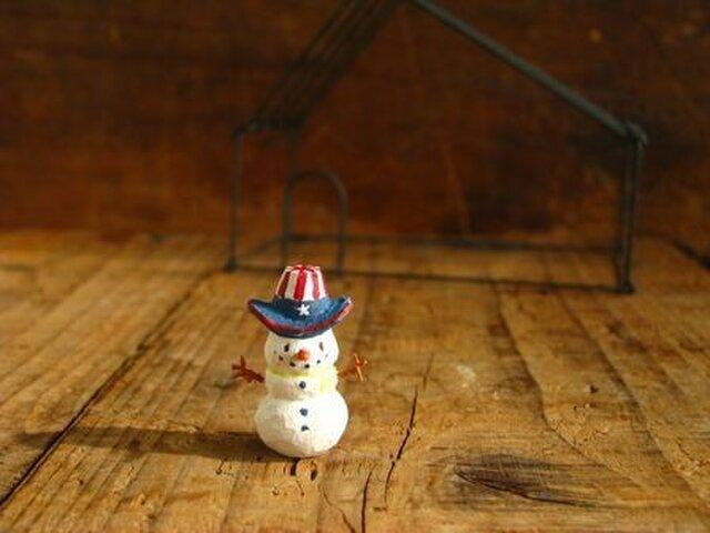 小さな小さなスノーマン   木彫りの画像1枚目