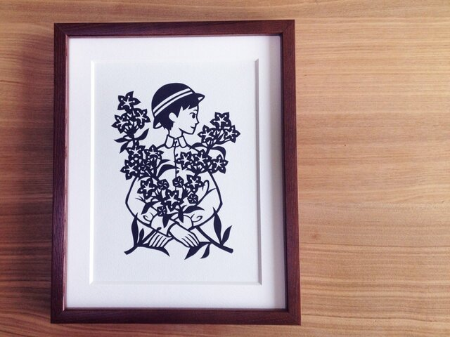 花の切り絵「ききょう」の画像1枚目