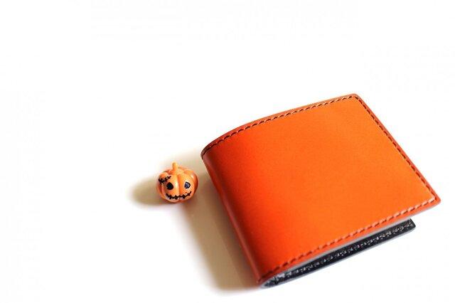 【受注生産品】二つ折り財布 〜栃木アニリン橙×栃木サドル〜の画像1枚目